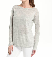 Michael Stars Linen Knit Long Sleeve Boat Neck Top LK9168