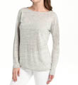 Linen Knit Long Sleeve Boat Neck Top Image