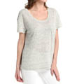 Linen Knit Short Sleeve Scoop Neck with Pocket Tee Image