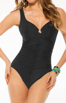 Up & Coming Sangria Notch Neck One Piece Swimsuit