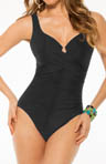 Miraclesuit Up & Coming Sangria Notch Neck One Piece Swimsuit 467136