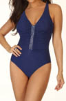 Fashion Figures Beaded Shirred One Piece Swimsuit