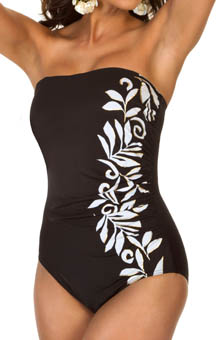 Playful Underwire Bandeau One Piece Swimsuit