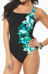 Miraclesuit Left Of Center Side Swipe Tank One Piece Swimsuit 468349