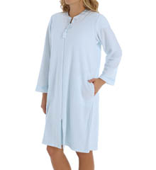 Miss Elaine Sofiknit Brushed Back Terry Short Zip Front Robe 361444