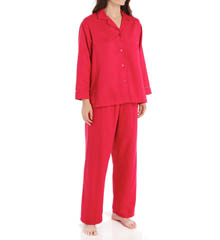Miss Elaine Brushed Back Satin Long Sleeve PJ Set 401114