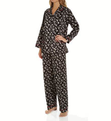 Miss Elaine Brushed Back Satin Long Sleeve PJ Set 401174