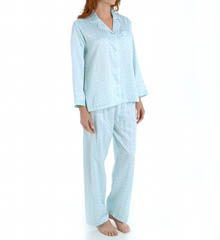 Miss Elaine Brushed Back Satin Long Sleeve PJ Set 411104