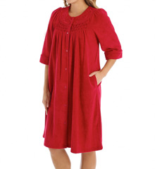 Miss Elaine Brushed Back Terry Snap Front Short Robe 841004