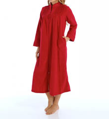 Miss Elaine Brushed Back Terry Zip Front Long Robe 861004