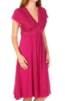 Mystique Intimates Bliss Knit Flutter Sleeve Gown 21925