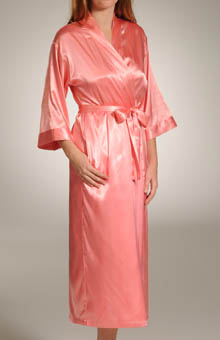Mystique Intimates Hydrangea Solid Long Kimono 70043