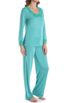 N by Natori Sleepwear Congo with Lace Longsleeve Pajama Set VC6016