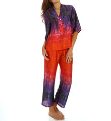 N by Natori Sleepwear Ombre Printed Satin Pajama Set XC6006