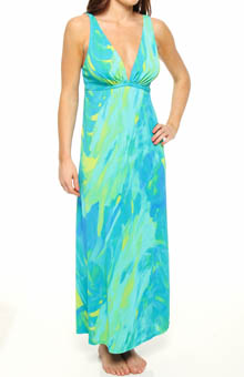Lagoon Printed Slinky Knit Long Gown