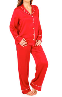 Natori Sleepwear Solid Charmeuse Essentials Notch PJ