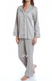 Natori Sleepwear Cotton Sateen Notch Pajama Set