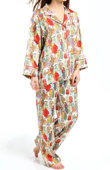 Natori Sleepwear Dynasty Printed Micro Satin Pajama Set V76062