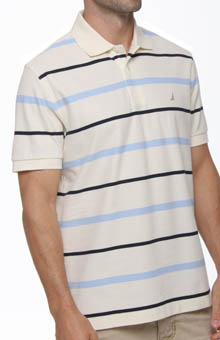 Nautica Short Sleeve Perfomance Pique Striped Polo