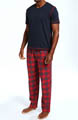 Nautica Pajama Set w/ V-Neck Tee and Flannel Pants PJ3441