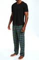 Pajama Set w/ V-Neck Tee and Flannel Pants Image