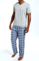 Pajama Set with V-Neck Tee and Flannel Pants Image