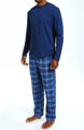 Pajama Set with Long Sleeve Crew and Flannel Pants Image