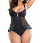 Oh La La Cheri Plus Size V-Plunge Skirted Teddy 2165X