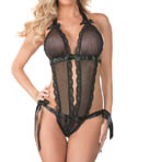 Fishnet Halter Teddy with Lace Image