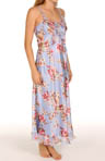 Morning Blossoms Printed Charmeuse Long Gown