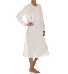 P-Jamas Flora Smocked Long Sleeve Nightgown Flora