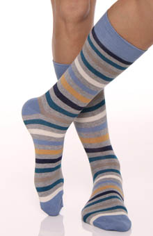 All Over Blue Stripe Crew Sock