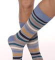 Pact All Over Blue Stripe Crew Sock MSKASB