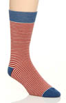 Pact Barn Red Railroad Stripe Crew Sock MSKBRS