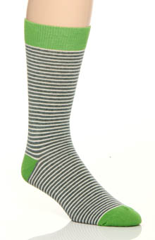 Kale Railroad Stripe Crew Sock