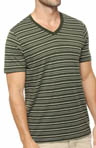 Duffle Bag Striped V-Neck T-Shirt