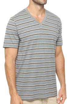 Pact Gravel Stripe V-Neck T-Shirt