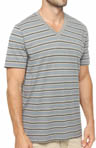 Pact Gravel Stripe V-Neck T-Shirt MSVGRS