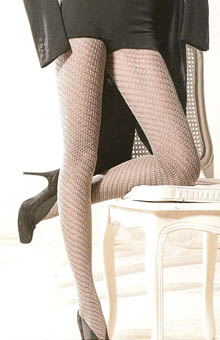 Cotton Tights with Openwork Spiral Pattern