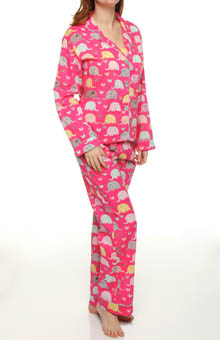 Playful Elephants Print PJ Set