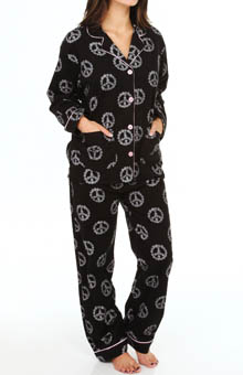 PJ Salvage Fall Into Flannel Daisies and Peace Pajama Set