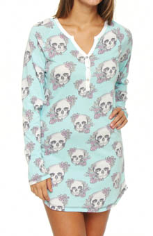 PJ Salvage Floral Skully Long Sleeve Night Shirt