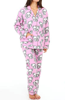 PJ Salvage Fall Into Flannel FLoral Skulls PJ Set
