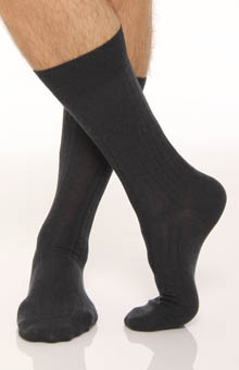 Solid Rib Pima Cotton/Wool Dress Sock
