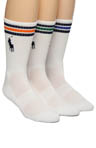 Polo Ralph Lauren 3 Pack Big Pony 3 Stripe Cushioned Crew Socks 821065PK