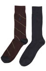 Polo Ralph Lauren Regimental Stripe/Ribbed Solid Sock 2 Pack 8958PK