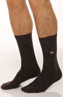 Solid Wool Sock with Dog Embroidery