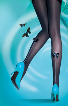 Bow Back Seam Tights