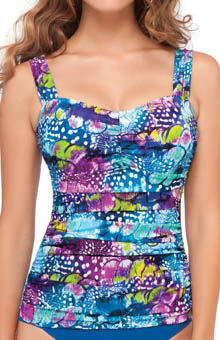 Profile by Gottex Royal Peacock D and E Cup Tankini Swim Top 4011D18