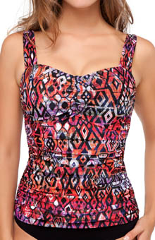 Profile by Gottex Aztec Underwire D Cup Tankini Swim Top 4101D18